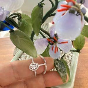 18K white Gold CZ silver Ring